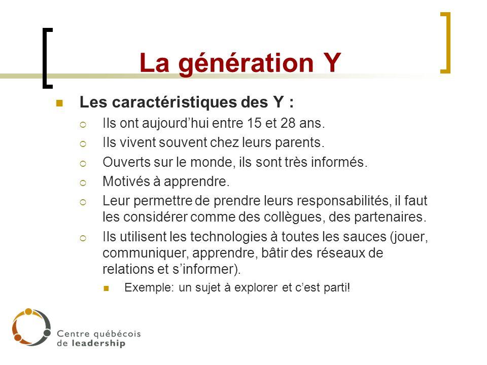 La génération Y Les caractéristiques des Y : Ils ont aujourdhui entre 15 et 28 ans. Ils vivent souvent chez leurs parents. Ouverts sur le monde, ils s