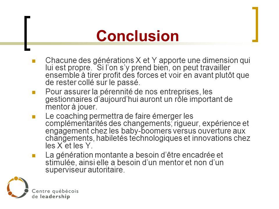 Conclusion Chacune des générations X et Y apporte une dimension qui lui est propre. Si lon sy prend bien, on peut travailler ensemble à tirer profit d