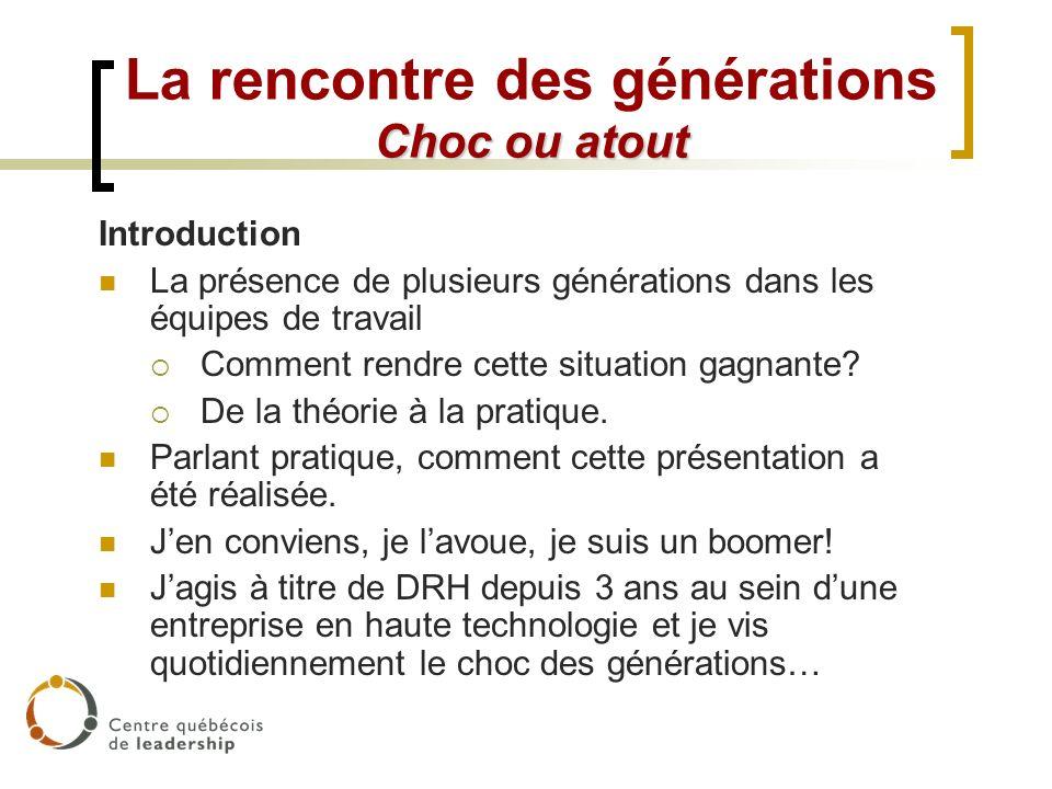 Choc ou atout La rencontre des générations Choc ou atout Introduction La présence de plusieurs générations dans les équipes de travail Comment rendre