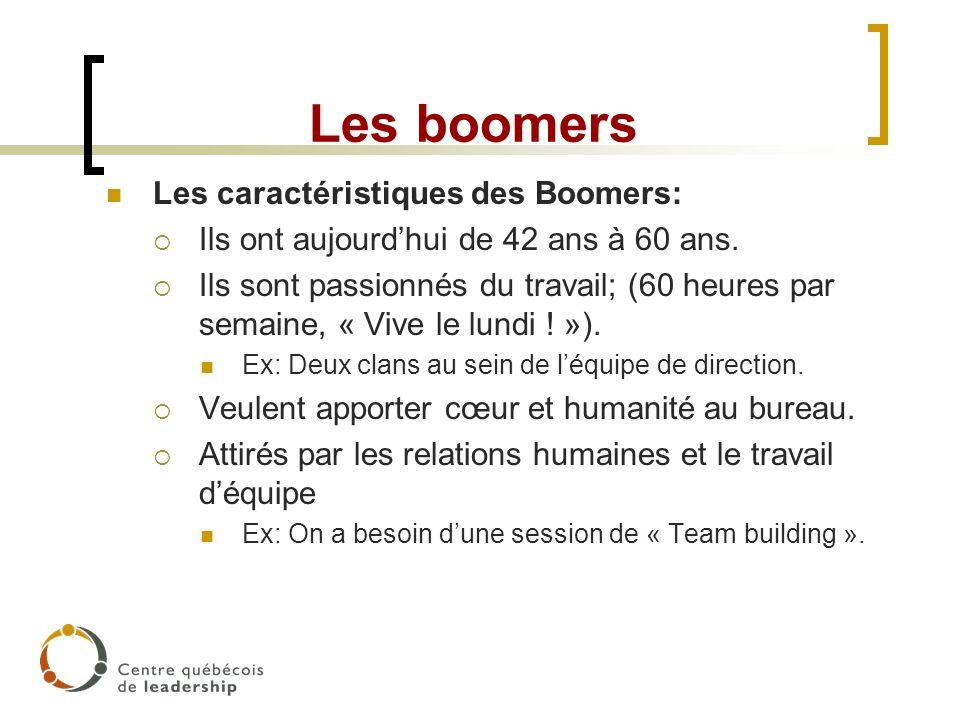 Les boomers Les caractéristiques des Boomers: Ils ont aujourdhui de 42 ans à 60 ans. Ils sont passionnés du travail; (60 heures par semaine, « Vive le