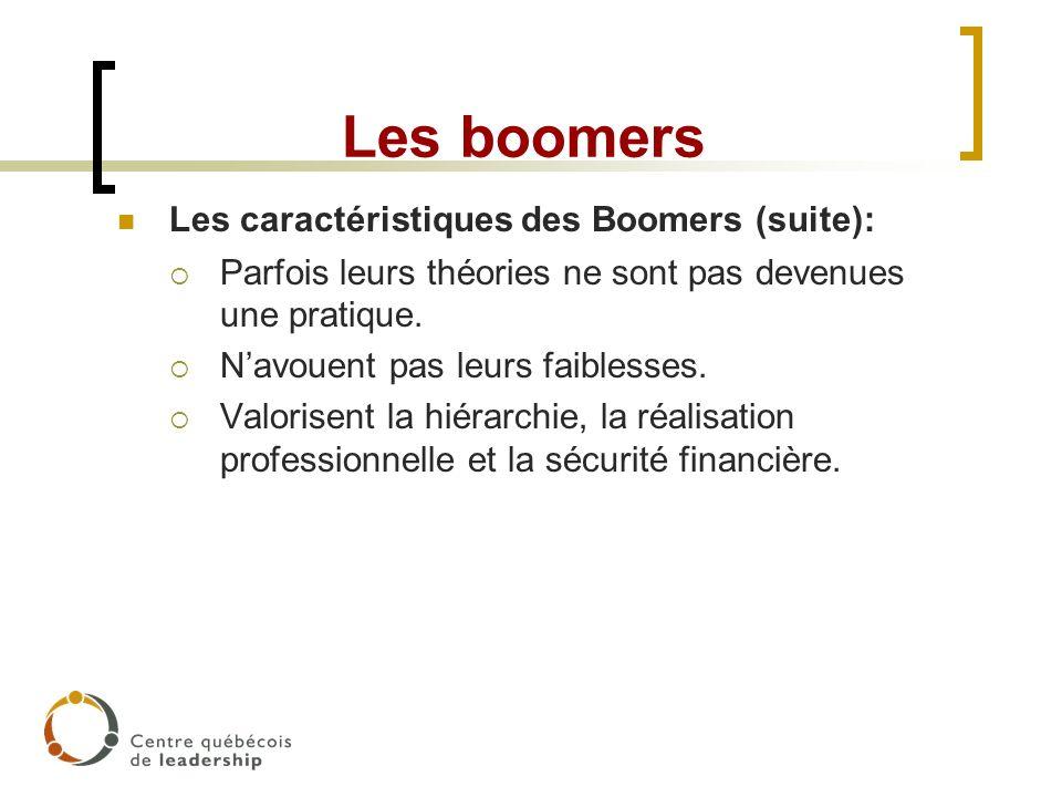Les boomers Les caractéristiques des Boomers (suite): Parfois leurs théories ne sont pas devenues une pratique. Navouent pas leurs faiblesses. Valoris