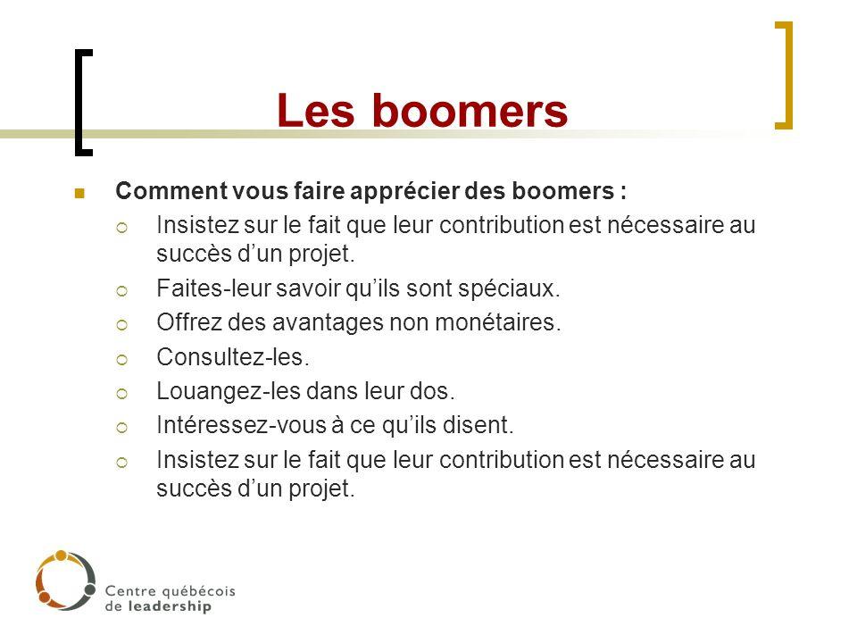 Les boomers Comment vous faire apprécier des boomers : Insistez sur le fait que leur contribution est nécessaire au succès dun projet. Faites-leur sav