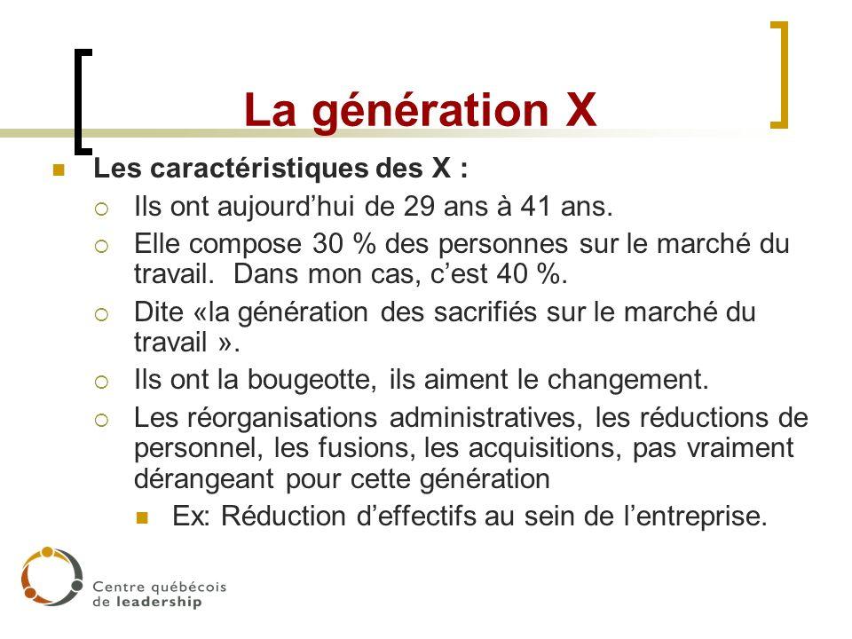 La génération X Les caractéristiques des X : Ils ont aujourdhui de 29 ans à 41 ans. Elle compose 30 % des personnes sur le marché du travail. Dans mon