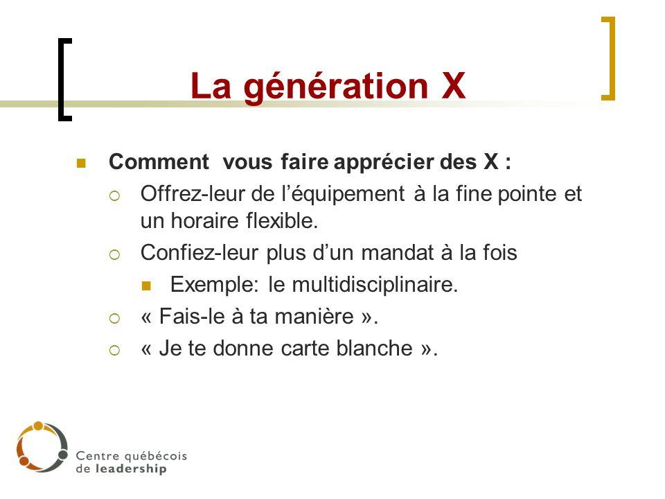 La génération X Comment vous faire apprécier des X : Offrez-leur de léquipement à la fine pointe et un horaire flexible. Confiez-leur plus dun mandat