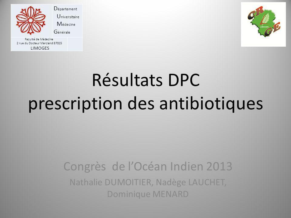 D épartement U niversitaire M édecine G énérale Faculté de Médecine 2 rue du Docteur Marcland 87025 LIMOGES Résultats DPC prescription des antibiotiqu