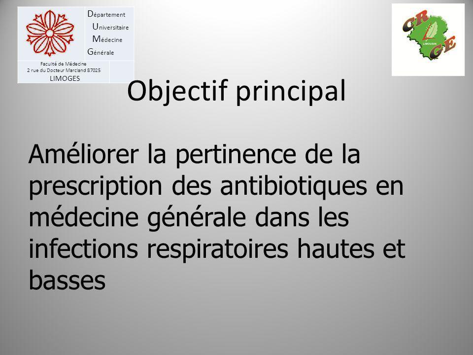 D épartement U niversitaire M édecine G énérale Faculté de Médecine 2 rue du Docteur Marcland 87025 LIMOGES Objectif principal Améliorer la pertinence