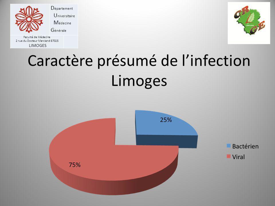 D épartement U niversitaire M édecine G énérale Faculté de Médecine 2 rue du Docteur Marcland 87025 LIMOGES Caractère présumé de linfection Limoges
