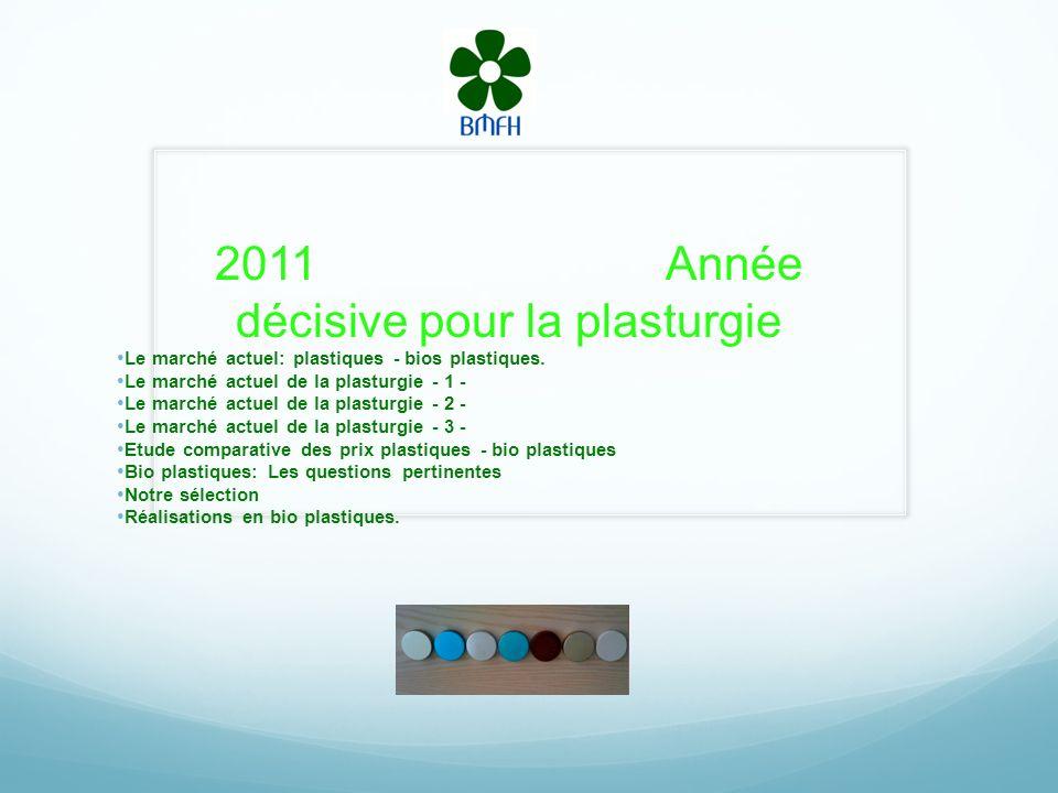 2011 Année décisive pour la plasturgie Le marché actuel: plastiques - bios plastiques.