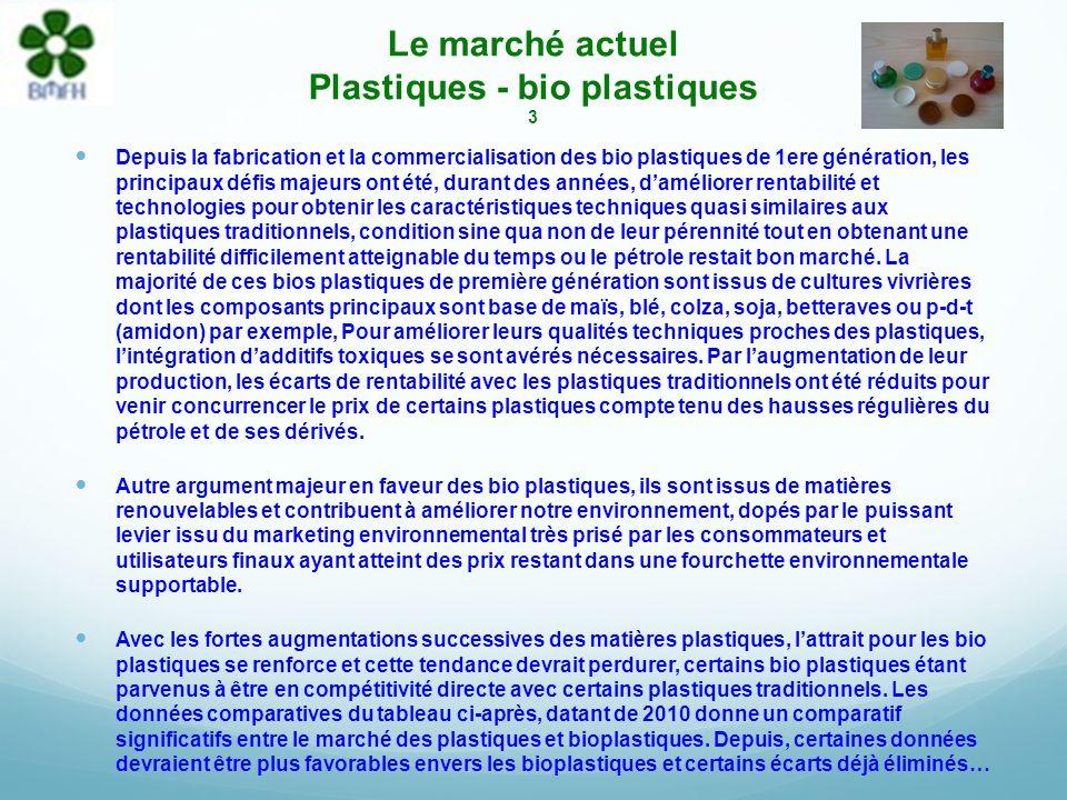 Le marché actuel Plastiques - bio plastiques 2 Une récente étude dElipso de 2010 démontre que laugmentation des matières plastiques est nettement supé