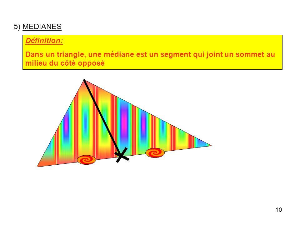 9 Remarque: Le centre du cercle circonscrit à un triangle nest pas toujours à lintérieur de ce triangle.