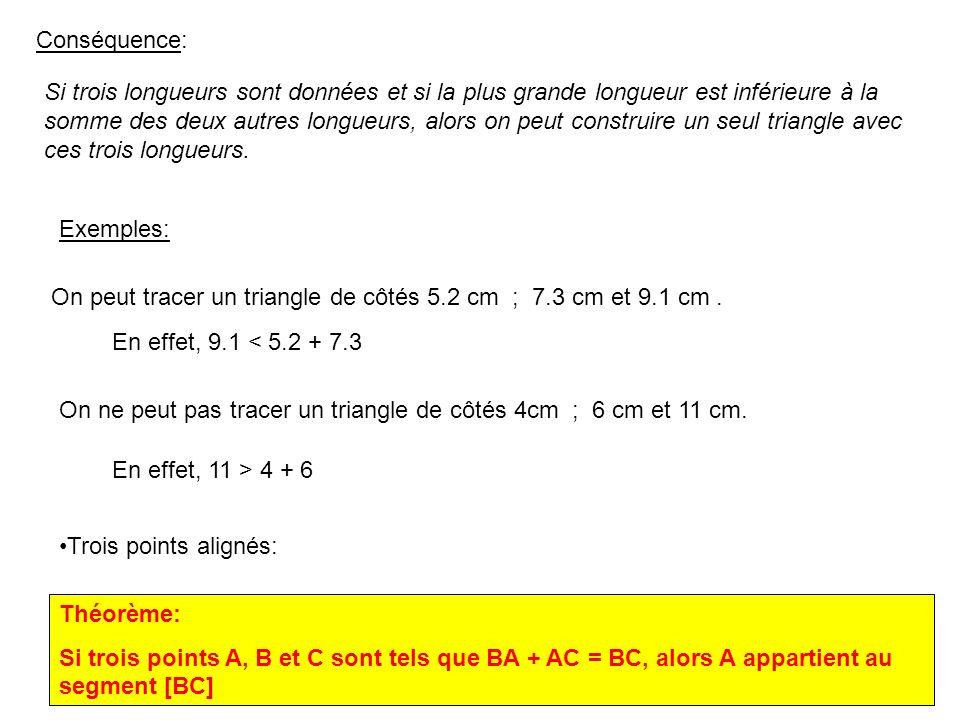 1 CONSTRUCTION DE TRIANGLES 1) Inégalité triangulaire Théorème admis: inégalité triangulaire: Si une figure est un triangle, alors la longueur de chaq