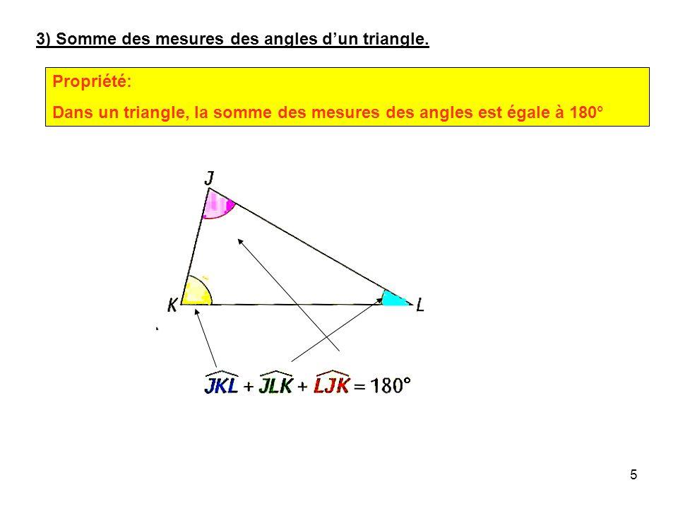 4 deux côtés et langle compris entre ces deux côtés Exemple: un côté et les deux angles ayant ce côté en commun Exemple