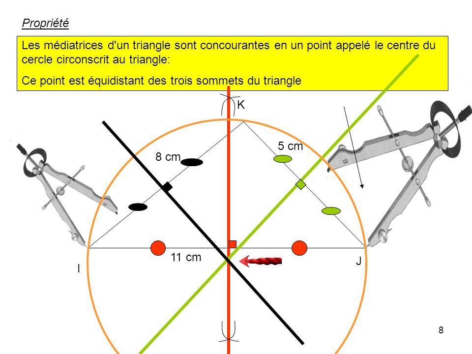7 Construire un triangle IJK tel que IJ = 11cm IK = 8 cm JK = 5 cm ainsi que les trois médiatrices des côtés I J K 11 cm 5 cm 8 cm écartement plus gra