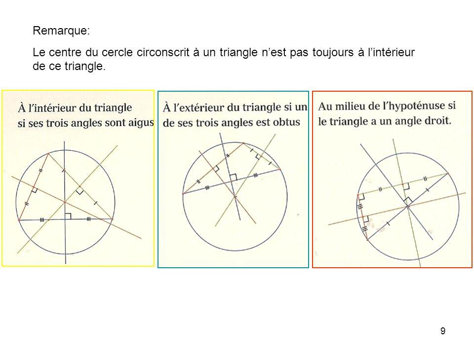 8 Les médiatrices d'un triangle sont concourantes en un point appelé le centre du cercle circonscrit au triangle: Ce point est équidistant des trois s