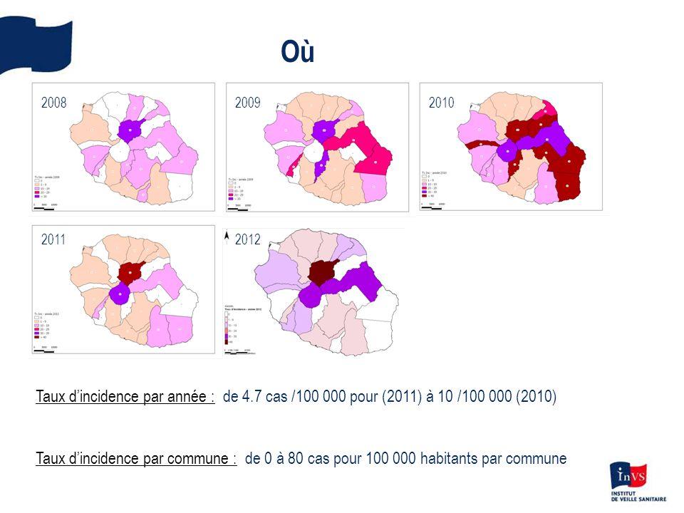Où Taux dincidence par année : de 4.7 cas /100 000 pour (2011) à 10 /100 000 (2010) Taux dincidence par commune : de 0 à 80 cas pour 100 000 habitants