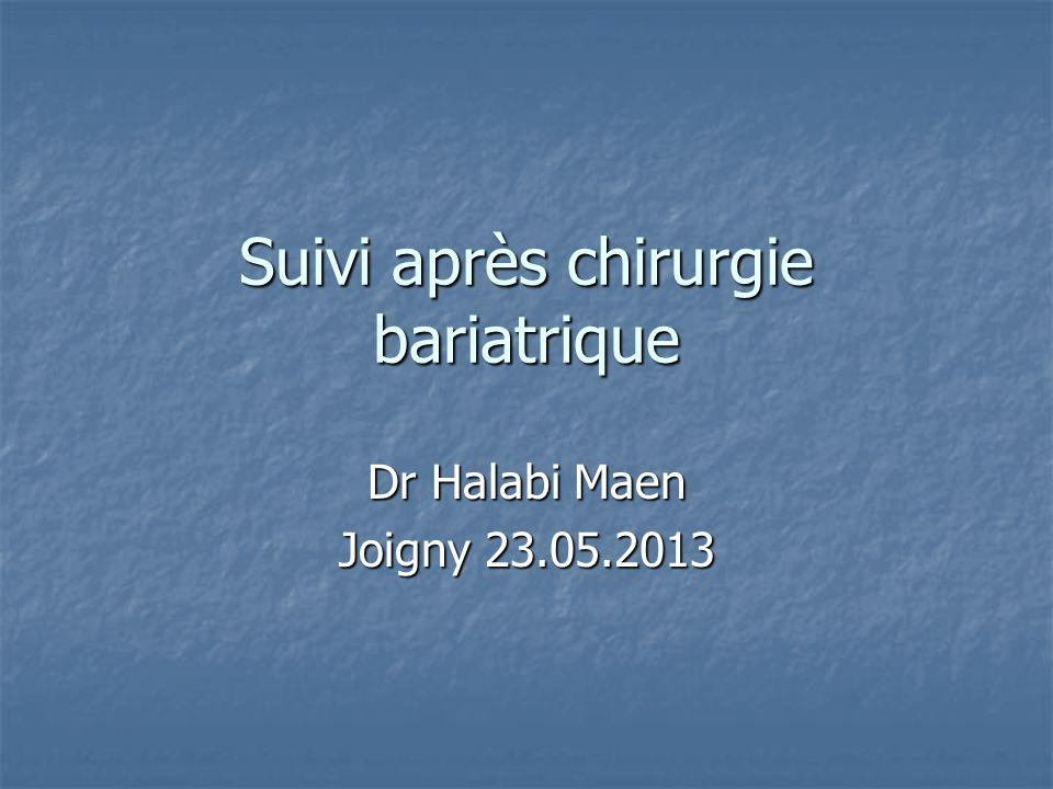 Suivi après chirurgie bariatrique Dr Halabi Maen Joigny 23.05.2013