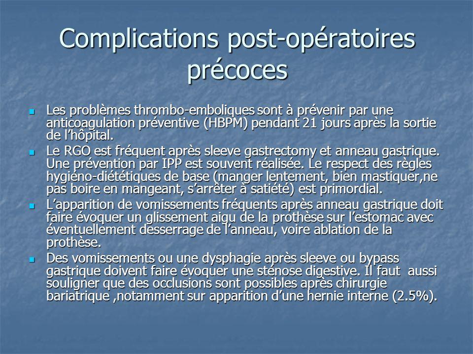 Complications post-opératoires précoces Les problèmes thrombo-emboliques sont à prévenir par une anticoagulation préventive (HBPM) pendant 21 jours ap