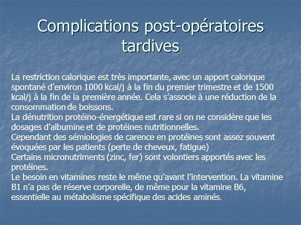 Complications post-opératoires tardives La restriction calorique est très importante, avec un apport calorique spontané denviron 1000 kcal/j à la fin