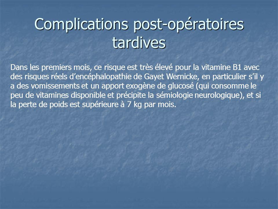 Complications post-opératoires tardives Dans les premiers mois, ce risque est très élevé pour la vitamine B1 avec des risques réels dencéphalopathie d