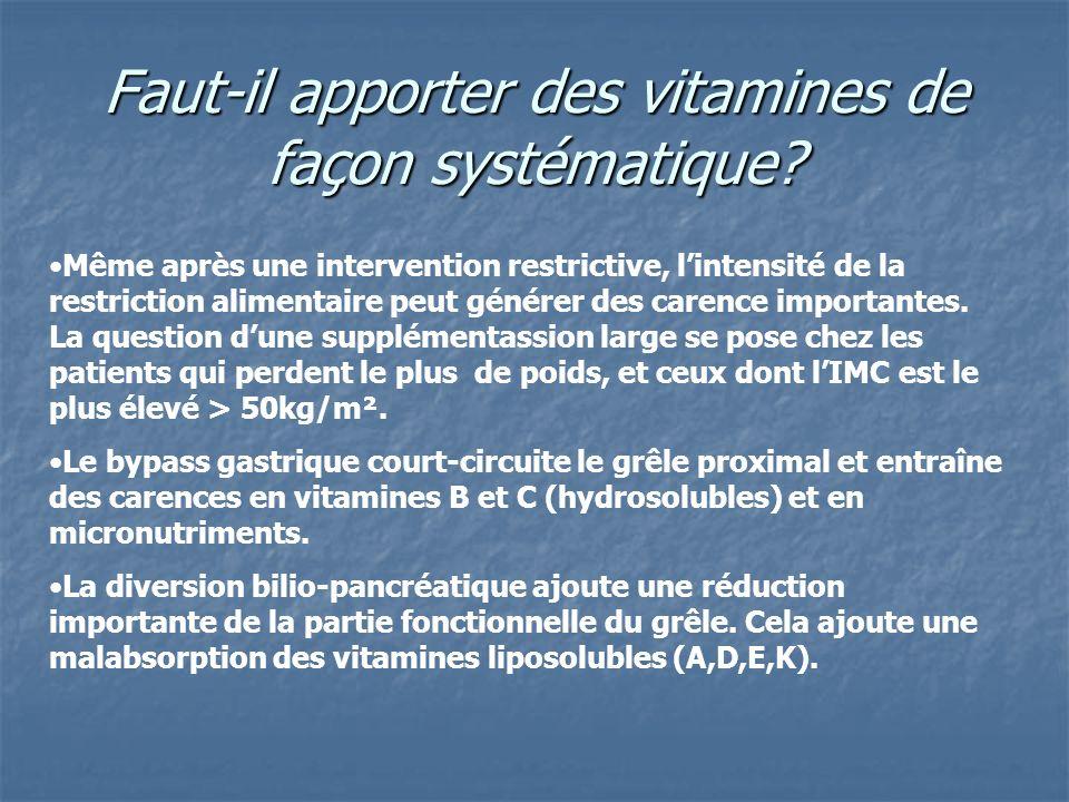 Faut-il apporter des vitamines de façon systématique? Même après une intervention restrictive, lintensité de la restriction alimentaire peut générer d