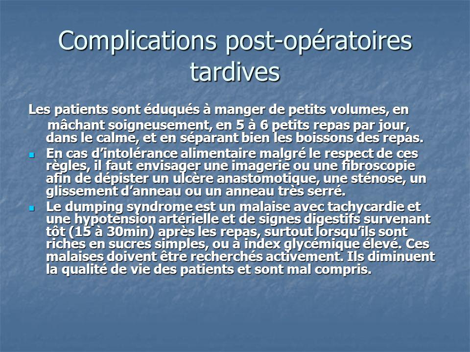 Complications post-opératoires tardives Les patients sont éduqués à manger de petits volumes, en mâchant soigneusement, en 5 à 6 petits repas par jour