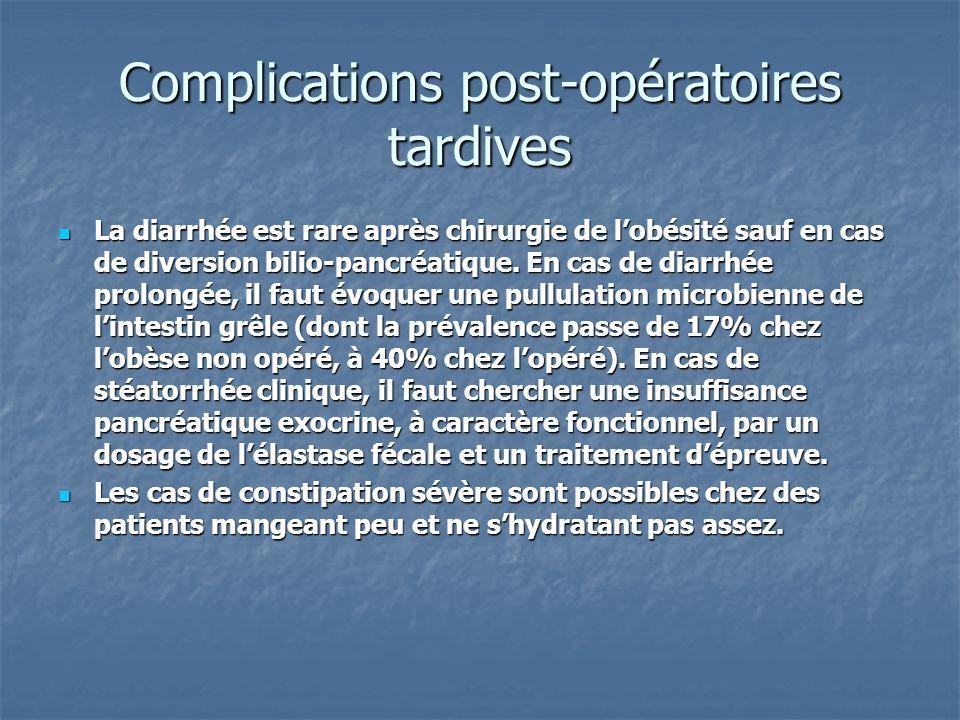 Complications post-opératoires tardives La diarrhée est rare après chirurgie de lobésité sauf en cas de diversion bilio-pancréatique. En cas de diarrh