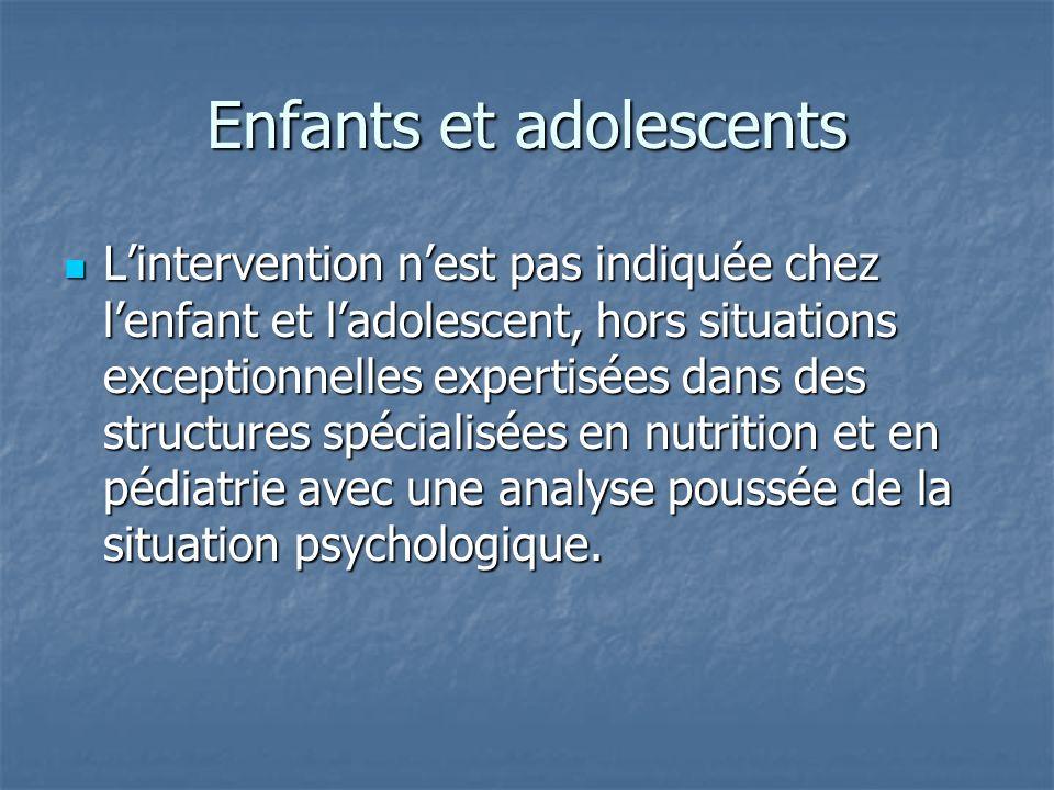 Enfants et adolescents Lintervention nest pas indiquée chez lenfant et ladolescent, hors situations exceptionnelles expertisées dans des structures sp