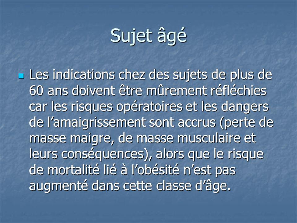 Sujet âgé Les indications chez des sujets de plus de 60 ans doivent être mûrement réfléchies car les risques opératoires et les dangers de lamaigrisse