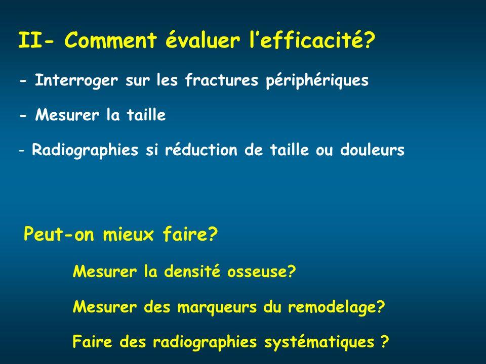 II- Comment évaluer lefficacité? - Interroger sur les fractures périphériques - Mesurer la taille - Radiographies si réduction de taille ou douleurs P