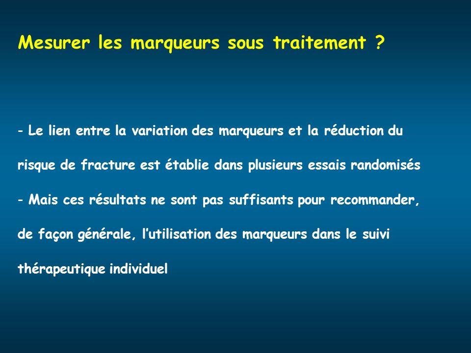 Mesurer les marqueurs sous traitement ? - Le lien entre la variation des marqueurs et la réduction du risque de fracture est établie dans plusieurs es