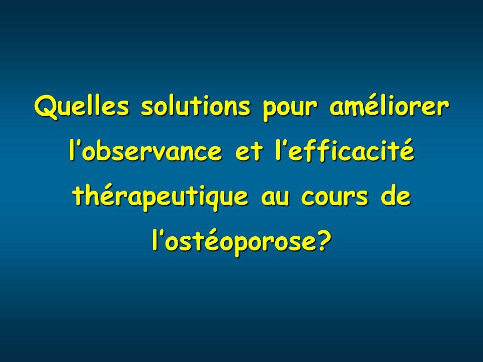 Quelles solutions pour améliorer lobservance et lefficacité thérapeutique au cours de lostéoporose?