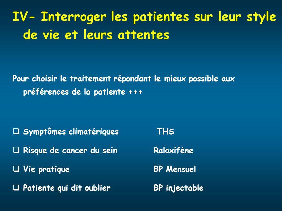 IV- Interroger les patientes sur leur style de vie et leurs attentes Pour choisir le traitement répondant le mieux possible aux préférences de la pati