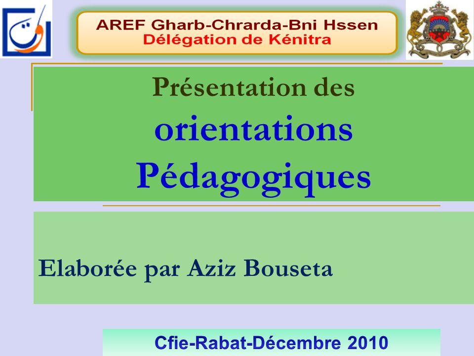 Elaborée par Aziz Bouseta Présentation des orientations Pédagogiques