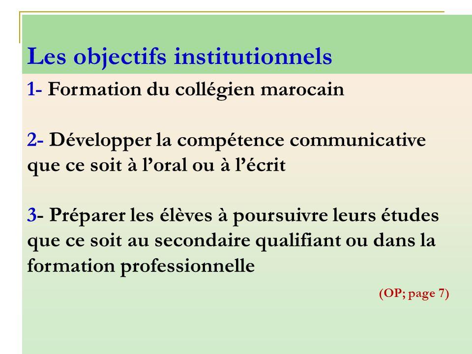 1- Formation du collégien marocain 2- Développer la compétence communicative que ce soit à loral ou à lécrit 3- Préparer les élèves à poursuivre leurs