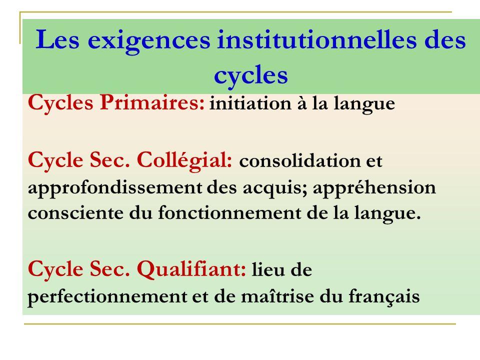 Cycles Primaires: initiation à la langue Cycle Sec. Collégial: consolidation et approfondissement des acquis; appréhension consciente du fonctionnemen