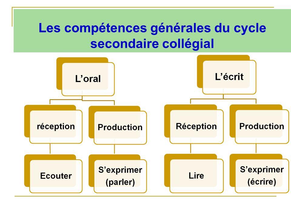 Les compétences générales du cycle secondaire collégial