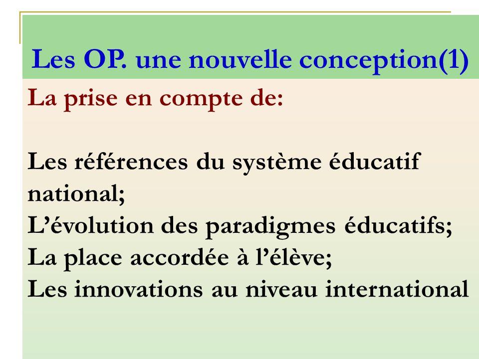 La prise en compte de: Les références du système éducatif national; Lévolution des paradigmes éducatifs; La place accordée à lélève; Les innovations a