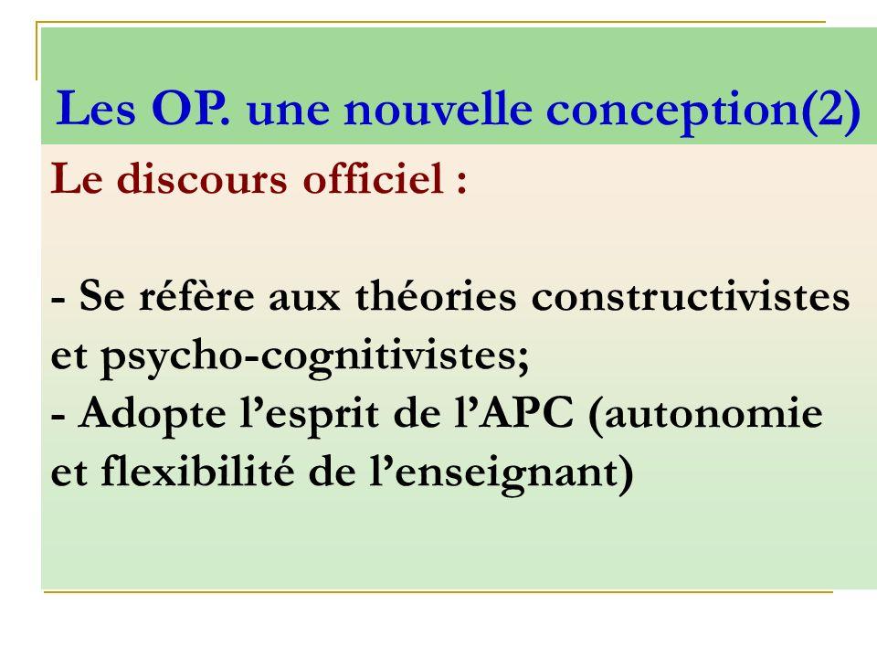 Le discours officiel : - Se réfère aux théories constructivistes et psycho-cognitivistes; - Adopte lesprit de lAPC (autonomie et flexibilité de lensei