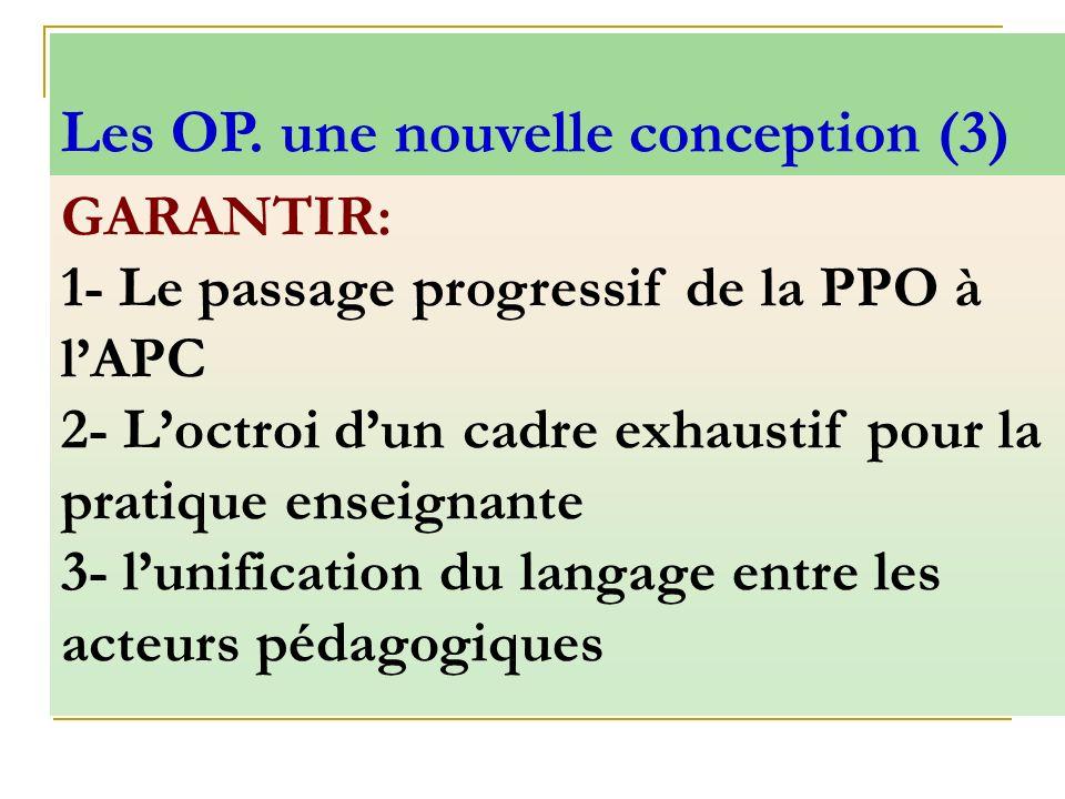 GARANTIR: 1- Le passage progressif de la PPO à lAPC 2- Loctroi dun cadre exhaustif pour la pratique enseignante 3- lunification du langage entre les a