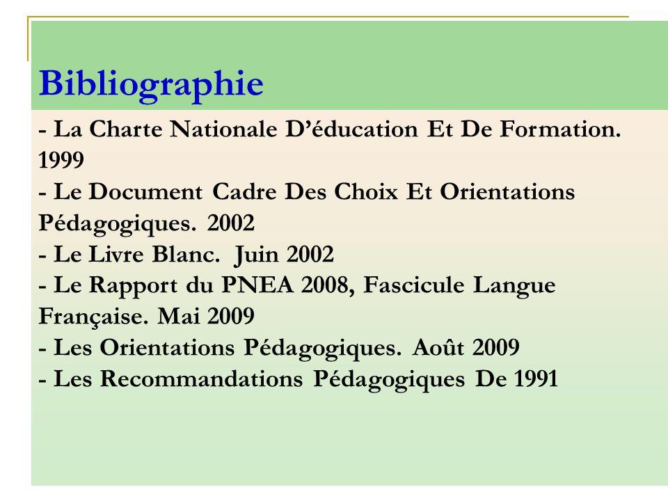 - La Charte Nationale Déducation Et De Formation. 1999 - Le Document Cadre Des Choix Et Orientations Pédagogiques. 2002 - Le Livre Blanc. Juin 2002 -
