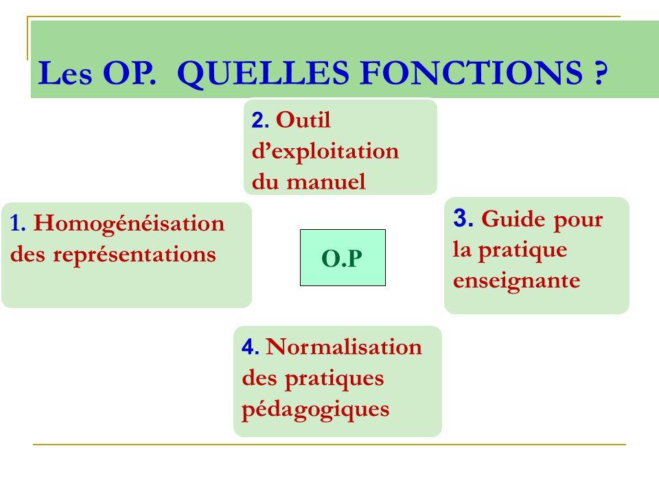Les OP. QUELLES FONCTIONS ? O.P 2. Outil dexploitation du manuel 3. Guide pour la pratique enseignante 4. Normalisation des pratiques pédagogiques 1.