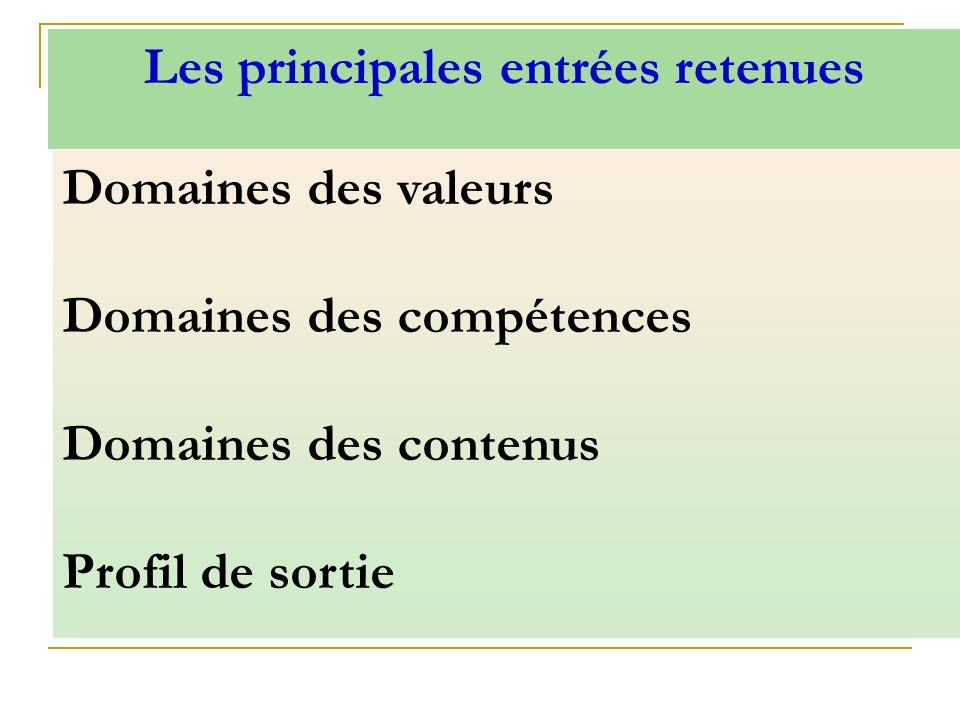 Domaines des valeurs Domaines des compétences Domaines des contenus Profil de sortie Les principales entrées retenues