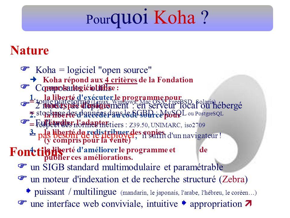 Pour quoi Koha ? Koha = logiciel