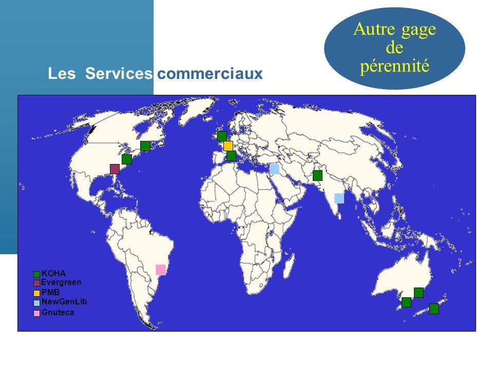 Les Services commerciaux KOHA Gnuteca Evergreen PMB NewGenLib Autre gage de pérennité