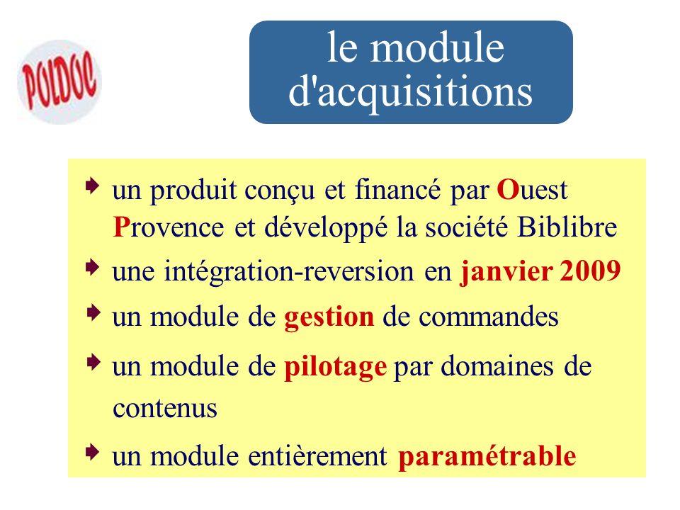 le module d'acquisitions un produit conçu et financé par Ouest Provence et développé la société Biblibre une intégration-reversion en janvier 2009 un