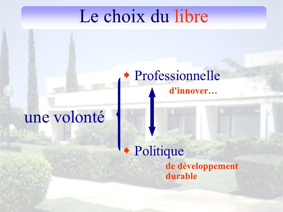Le choix du libre une volonté Politique de développement durable Professionnelle d'innover…