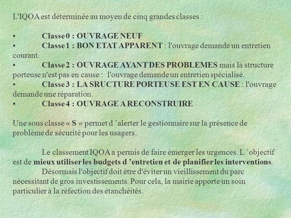 L'IQOA est déterminée au moyen de cinq grandes classes : Classe 0 : OUVRAGE NEUF Classe 1 : BON ETAT APPARENT : l'ouvrage demande un entretien courant