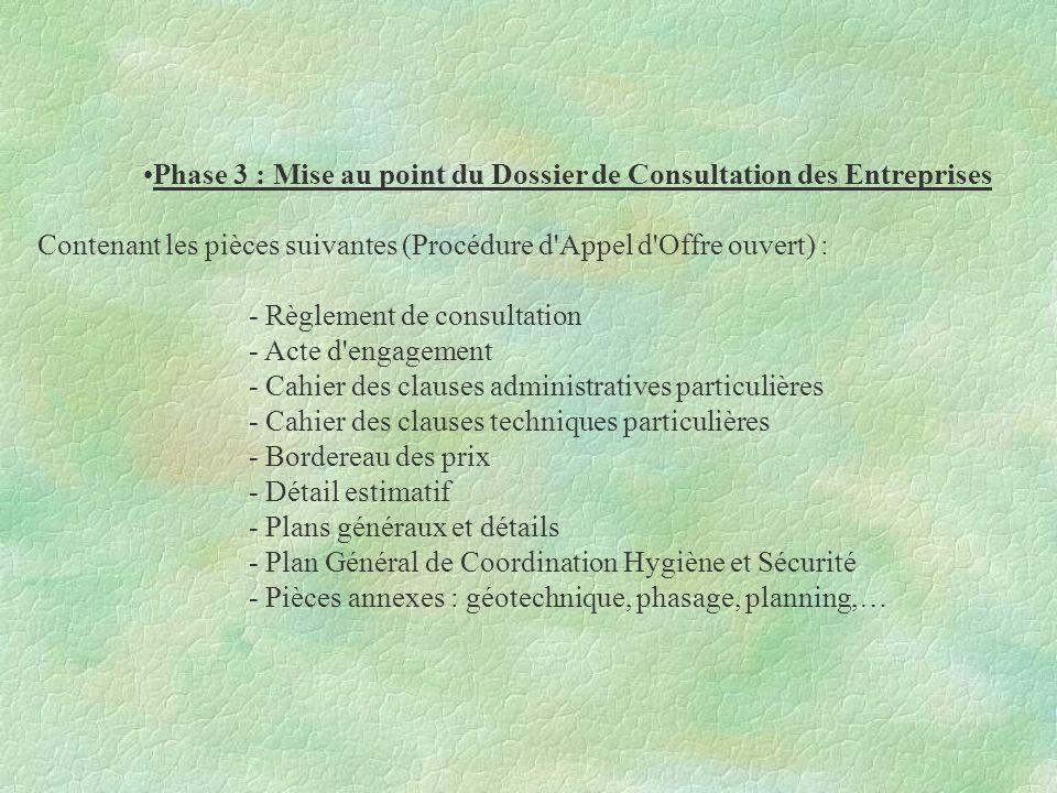 Phase 3 : Mise au point du Dossier de Consultation des Entreprises Contenant les pièces suivantes (Procédure d'Appel d'Offre ouvert) : - Règlement de