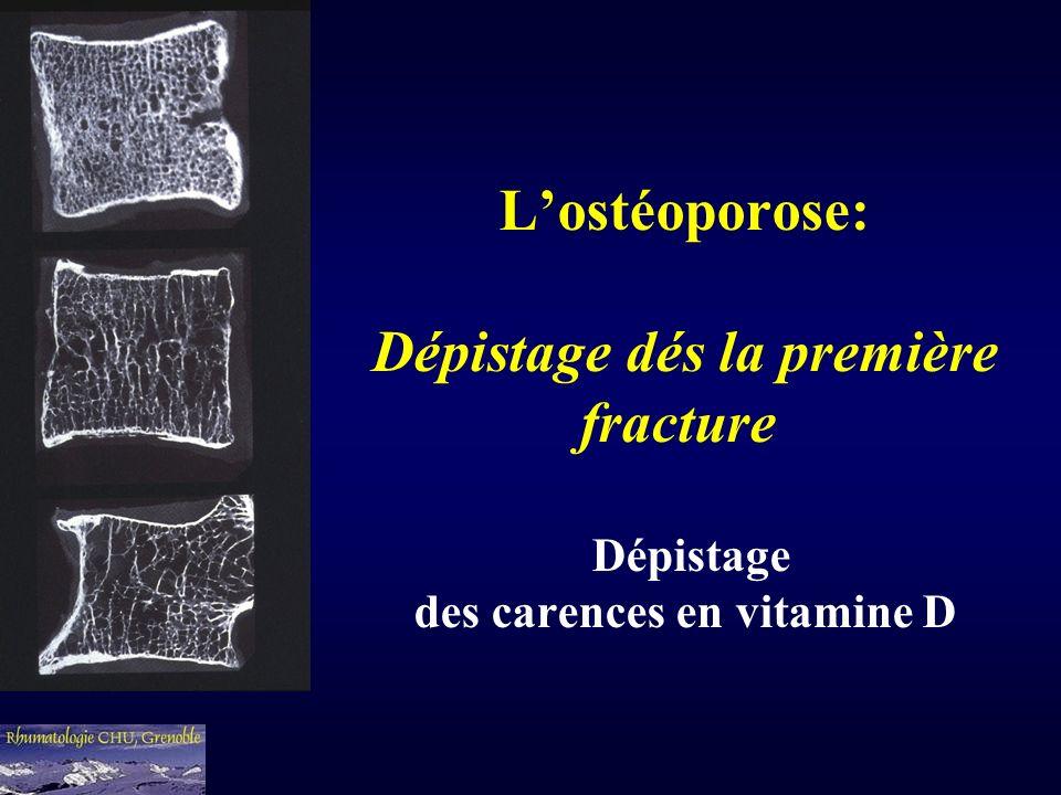 Lostéoporose: Dépistage dés la première fracture Dépistage des carences en vitamine D