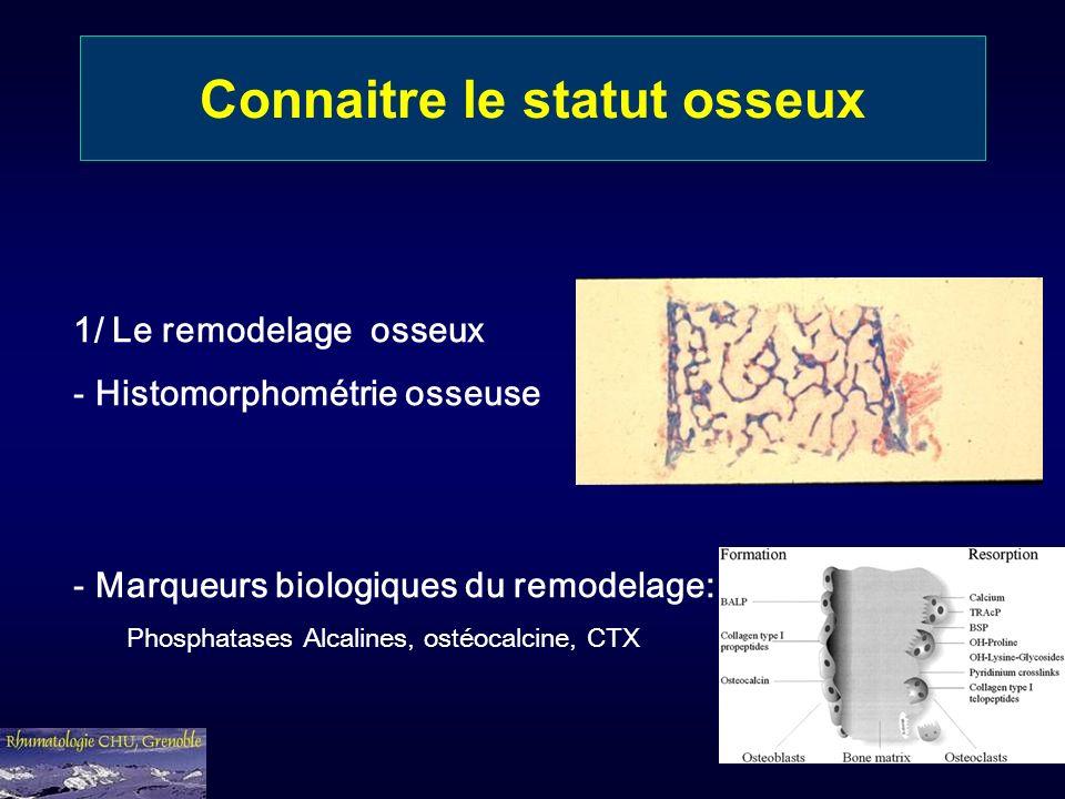 Connaitre le statut osseux 1/ Le remodelage osseux - Histomorphométrie osseuse - Marqueurs biologiques du remodelage: Phosphatases Alcalines, ostéocal